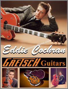 Eddie Cochran 1950's Rock and Roll Star Gretsch Guitars Twang Twang… by MyGenerationShop on Etsy