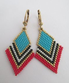 These pretty, petite, & lightweight beadwoven earrings are handmade with transparent minty aqua, silver-lined aqua frost, & golden delica seed beads. They measure long including the plated leverback earwires. Beaded Earrings Patterns, Beading Patterns, Seed Bead Necklace, Seed Beads, Brick Stitch Earrings, Bead Jewellery, Loom Beading, Bead Art, Bead Weaving