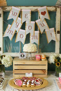 Vintage, nostalgic dessert table. Perfect for a brunch or rustic bridal shower. www.gobrandyourself.etsy.com