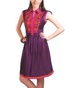 Purple Embroidered Button-Front Dress - Women