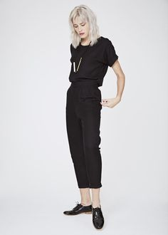 Colour Black Twill Fabric Rayon, prewashed so it won't shrink! Description Woven t-shirt Grown on sleeve with cuff Back and front neck facings Marble Top, Capsule Wardrobe, Black Tops, Cool Outfits, Normcore, Product Description, Clothing, Fabric, Summer