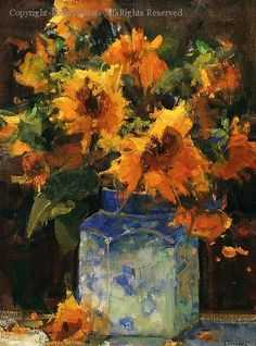 Sunflowers and Ginger Jar - Oil by Kathryn Stats