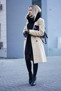 Winter Outfits 2015: Magda is wearing a beige coat and black scarf and gloves from Reserved, black dress from Land Fashion, ankle boots from Czasnabuty