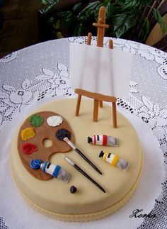 Little artist cake Motivtorten Art Birthday Cake, Artist Birthday, Beautiful Birthday Cakes, Beautiful Cakes, Crazy Cakes, Fancy Cakes, Cute Cakes, Painter Cake, Artist Cake
