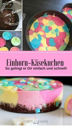 Einhorn Käsekuchen für die BFF - schnelles REZEPT The perfect cheesecake for the hot days, but of course also for the winter. This unicorn cheesecake with cream cheese and biscuit base is quick and ea Unicorn Cheese Cake, Quick Recipes, Whole Food Recipes, Cheesecake Recipes, Dessert Recipes, Cheesecake Cake, Baked Donuts, Cake With Cream Cheese, Food Cakes