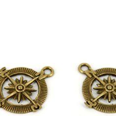 Antique Bronze DIY Compass Loose Beads 10pcs
