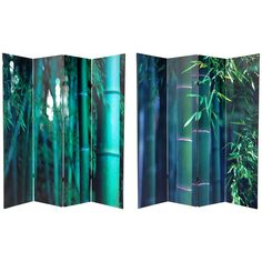 Oriental Furniture 6 ft. Tall Double Sided Bamboo Tree Canvas Room Divider - 4 Panel, Green