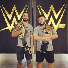 The WWE World Heavyweight Champion Seth Rollins and the NXT Champion Kevin Owens