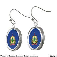 Vermonter flag, American state flag Earrings