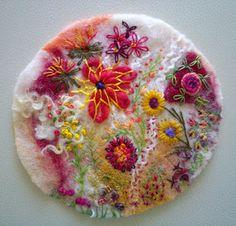 beautiful combination of felting and stitching....