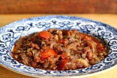 Eggplant Lentil Stew with Pomegranate Molasses ~ Turkish lentil stew recipe with eggplant and pomegranate molasses. ~ SimplyRecipes.com