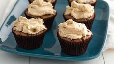Enjoy the classic combo of peanut butter and chocolate with these quick-fix brownie cupcakes!