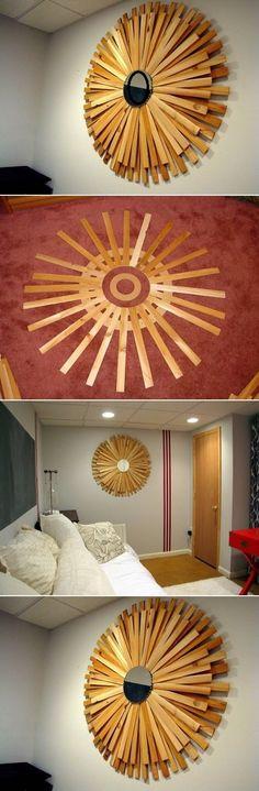 Tutorial for DIY Sunburst Mirror Diy Design, Design Crafts, Home Crafts, Diy Home Decor, Diy And Crafts, Diy Casa, Modern Crafts, Sunburst Mirror, Diy Interior