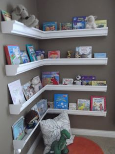 Bookshelves made from plastic gutter. Great idea!