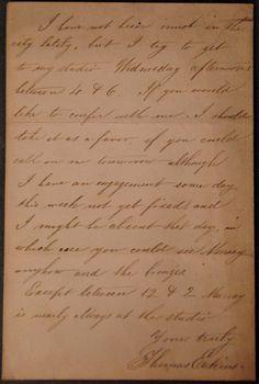 Thomas Eakins autograph on letter to Mr. Thomas Stewardson. - Realized Price: $2,400.00