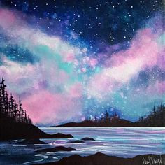 Week 3 – Twilight Magic with Nikol Wikman Art and other things twilight-magic-nikol-wikman Night Sky Painting, Galaxy Painting, Galaxy Art, Memes Arte, Canvas Painting Tutorials, Aesthetic Painting, Cool Drawings, Art Inspo, Amazing Art