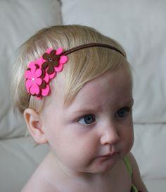 Pink and Brown Flower Baby Headband - Headband - Baby Headband - Headband for…