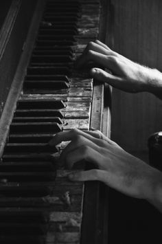 Hands, piano, playing, musician, beautiful, oldie, gesture, photo b/w.