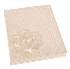 Notebook white sequin wedding christening 16x16cm Shared Earth fair trade on eBid United Kingdom