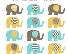 SALE Baby Elephants Clip Art Set  / Elephant Illustration / Printable Clip Art / Commercial / Yellow - Aqua - Creme - Brown