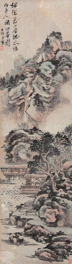 清代 - 石濤 - 泊舟圖 (款)                        Shi Tao (1642–1707), was a Chinese landscape painter and poet during the early Qing Dynasty (1644–1911).