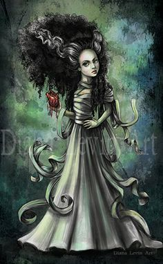 Bride of Frankenstein Art by Diana Levin #Brideoffrankenstein #Frankenstein #monster #artprint #art #illustration #horror #macabre