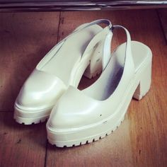 Marques Almeida white plastic shoes