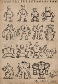 ROBOTZ Concepts 2 by radu-jm by Robot-drawing-club Cartoon Drawings, Drawing Sketches, Character Drawing, Character Design, Robot Sketch, Doodle Monster, Robots Drawing, Robot Monster, Robot Cartoon
