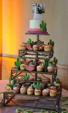 Cinco De Mayo themed wedding cupcakes.  Cupcake tower made by Enticing Tables.
