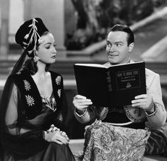 """Dorothy Lamour and Bob Hope in """"Road to Morocco""""."""