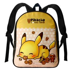 Cute Pikachu and kawaii cookies - Leather backpack - LBP5 | ChibiBunny - Bags & Purses on ArtFire