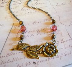 Rose Garden Vintage Style Brass Pendant Charm by lucindascharms, $19.00