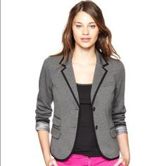 Gap Grey Academy Blazer with Navy Blue Trim Never worn as this is too small for me. In perfect condition. First 2 photos show black trim but same style with the actual item in navy blue trim. GAP Jackets & Coats Blazers