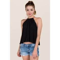 Noelle High Neck Swiss Dot and Pom Pom Tank - Black ($34) ❤ liked on Polyvore featuring tops, black, short tank tops, high neck tank top, high neckline tops, colorful tops and short tops