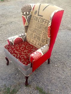 "Custom Pair of Wingback Chairs in ""The Red One"" with Clean Coffee Bean Bag"