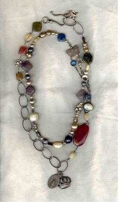 Double Strung Stones & Pearls Necklace