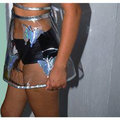 See Through Circle Skirt (£56) ❤ liked on Polyvore featuring skirts, hologram skirt, hologram skater skirt, sheer wrap skirt, clear vinyl skirt and transparent skirt