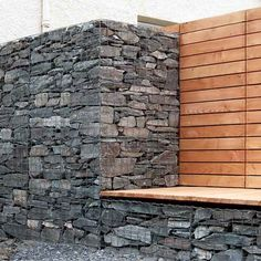Gabion wall and seat.