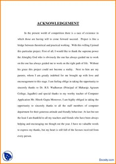 6 Acknowledgement Sample For Project Report Example