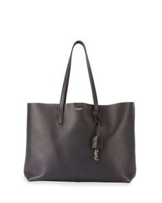Large+East-West+Leather+Shopper+Bag,+Black+by+Saint+Laurent+at+Neiman+Marcus.