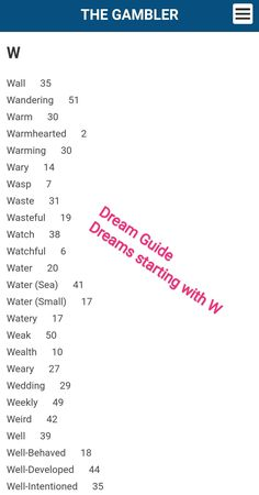 Fafi Dream guide for dreams starting with W. Translate your dreams into lucky numbers. Dream Guide, Dream Watches, South Africa, Dreaming Of You, Numbers, Dreams