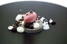 Shawn Gawle's Black Sesame dessert: black sesame custard, vanilla sabayon, concord grape sorbet and frozen yuzu-buttermilk