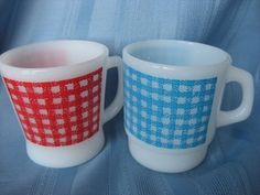 Gingham Fire-King mugs by Anchor Hocking.
