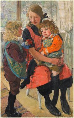 Backlund-Celsing, Elsa Carolina (Sweden, 1880-1974) «Self-portrait with children»