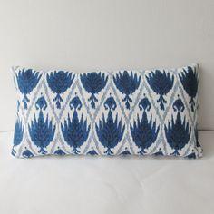Indigo Ikat Pillow Cover 12 x 20 Lumbar Decorative Throw Pillow, Accent Pillow, Toss Pillow