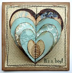 Scrap Paper hearts...love that the valentines start all at the same point, then the stitching...Val's, baby boy or girl.