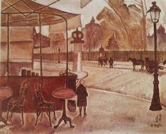 1917 env. Le café du départ_ Huile 38 x 46 cm Collection particulière