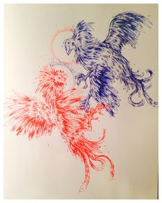 """""""Study for commission""""  Red and blue ink 2014"""