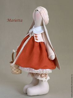 Игрушки животные, ручной работы. Ярмарка Мастеров - ручная работа Зайка Marietta (Мариетта)  - текстильная игрушка (38 см). Handmade.