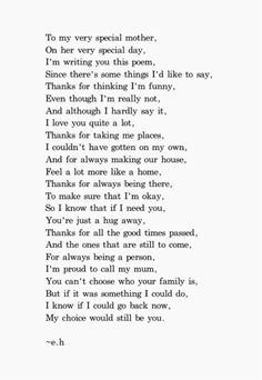 e.h. is my favorite poet. This quote is perfect to give to a mother along with a little gift.